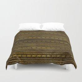 Golden Tribal Pattern on Dark wood Duvet Cover