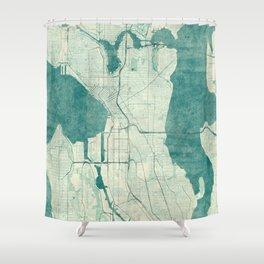 Seattle Map Blue Vintage Shower Curtain