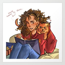 Hermione with Crookshanks Art Print