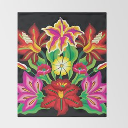 Mexican Exotic Flowers Throw Blanket