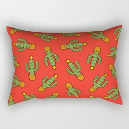 Cactus Christmas Tree in Red Rectangular Pillow