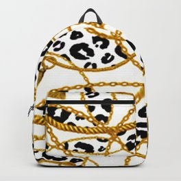 Gold Chain Rope Animal Print Backpack