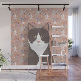 Gray Tuxedo Cat and Flowers Wall Mural