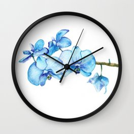 Blue Orchids Two - Watercolor Wall Clock