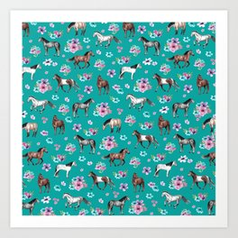 Horse Pattern, Floral Print, Turquoise, Little Girls Room, Horses Art Print