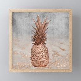Pineapple in Glitter Marble Rose Gold And Concrete Framed Mini Art Print