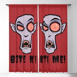 Creepy Vampire Cartoon with Bite Me Text Blackout Curtain
