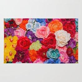 Vibrant Rainbow Flowers Rug