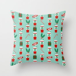 Peppermint Latte mint gender neutral coffee lovers gift for christmas food traditions to remember Throw Pillow