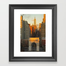 Sunset over Washington Square Park Framed Art Print
