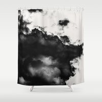 daria Shower Curtains featuring black and white abstraction by Dar'ya Vlasova