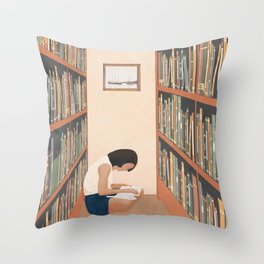 Getting Lost in a Book Throw Pillow