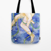 tangled Tote Bags featuring tangled by Beth Jorgensen