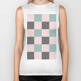 Contemporary Mint Pink Gray Gingham Pattern-Mix and Match Biker Tank