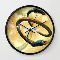 dragon Wall Clocks featuring Dragon by nicky2342