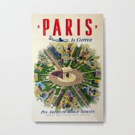 Paris by Clipper 1951 Vintage Travel Poster Metal Print
