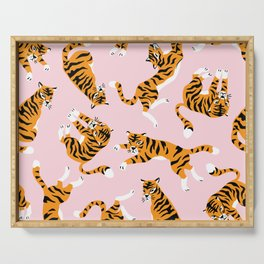 Cute tiger in the tropical forest hand drawn on pink background illustration Serving Tray