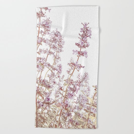 Soft Pink Wild Summer Flowers Beach Towel