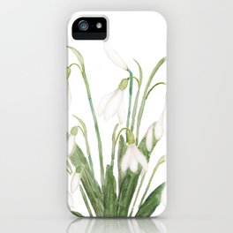 white snowdrop flower watercolor iPhone Case