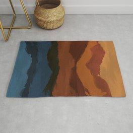 Teal and Copper in the Mountains Rug