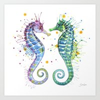 seahorse Art Prints featuring Seahorse by Sam Nagel