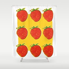 Strawberry with pizza Shower Curtain