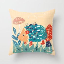 Hedgehog toadstool print Throw Pillow
