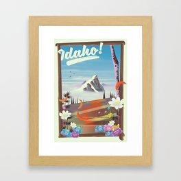Idaho! landscape travel poster Framed Art Print