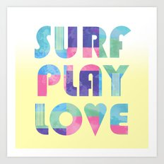 Surf Play Love Art Print