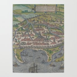 Vintage Pictorial Map of Alexandria Egypt (1575) Poster