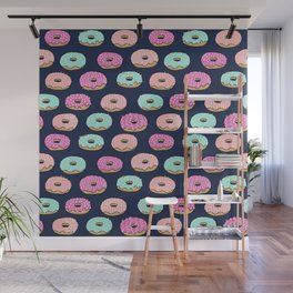 Donuts pattern pink doughnut cute food print by andrea lauren Wall Mural