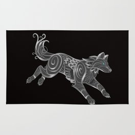 Shimmering Silver Ghost Wolf Rug