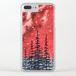 """Red Milky Way"" Galaxy watercolor illustration Clear iPhone Case"