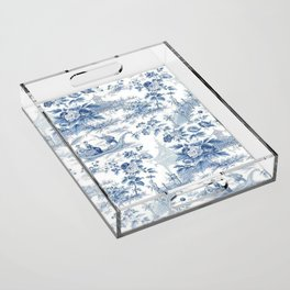 Powder Blue Chinoiserie Toile Acrylic Tray