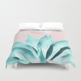 Stellar Agave and Full Moon - pastel aqua and pink Duvet Cover