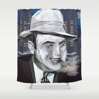 scarface Shower Curtains featuring el jefe by DesignGeo