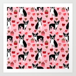 Boston Terrier valentines day cupcakes hearts love pet friendly custom dog breed portraits Art Print