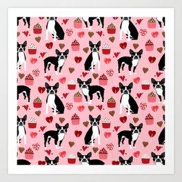Boston Terrier valentines day cupcakes hearts love pet friendly custom dog breed portraits Art Print