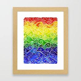 Rainbow Water Waves Framed Art Print
