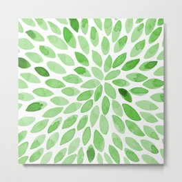 Watercolor brush strokes -  summer green Metal Print