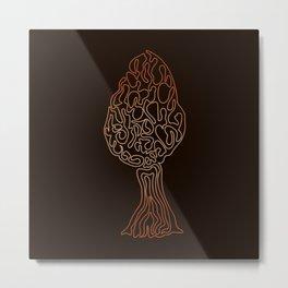 Morel Mushroom - Doodle Line Art 06 Metal Print