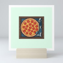 Pizza Record Player Mini Art Print
