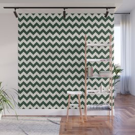 Geometrical forest green ivory modern chevron Wall Mural