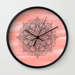 Coral Mandala Wall Clock