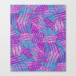 Pink and Blue Criss Cross - Sarah Bagshaw Canvas Print