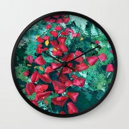 Rose Petals in Pool Water Art | Abstract Red Rose Floral Watercolor Art Print Wall Clock