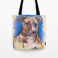 pit bull Tote Bags featuring Brindle Pit Bull Portrait by M.M. Anderson Designs
