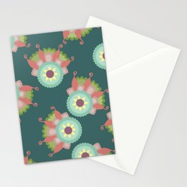 Turquoise floral pattern Stationery Cards
