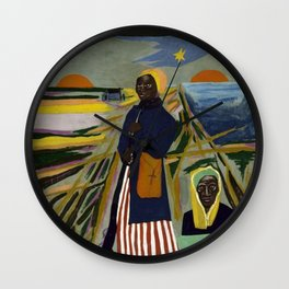 African American Masterpiece 'Experience America Harriet Tubman' by William Johnson Wall Clock