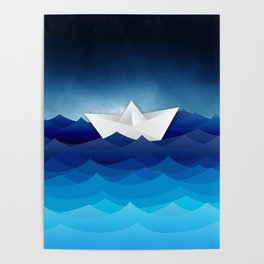 paper boat on sea Poster